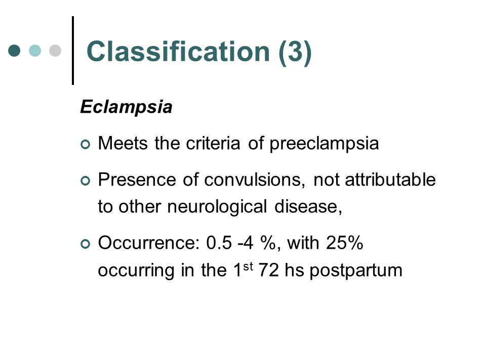 Classification (3) Eclampsia Meets the criteria of preeclampsia