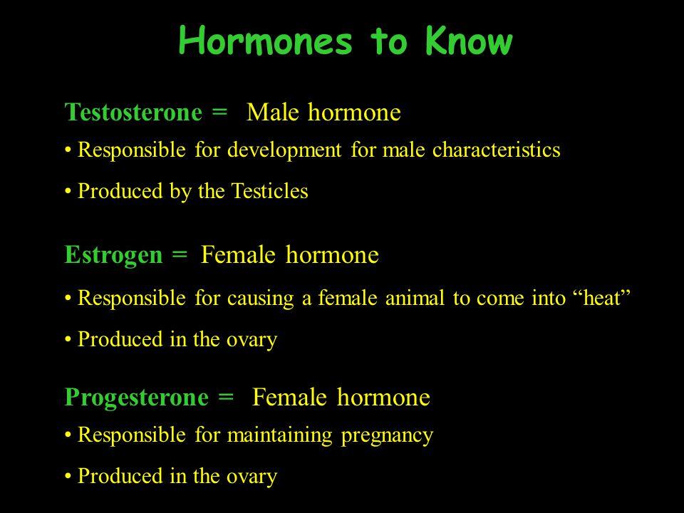 Hormones to Know Testosterone = Male hormone Estrogen = Female hormone