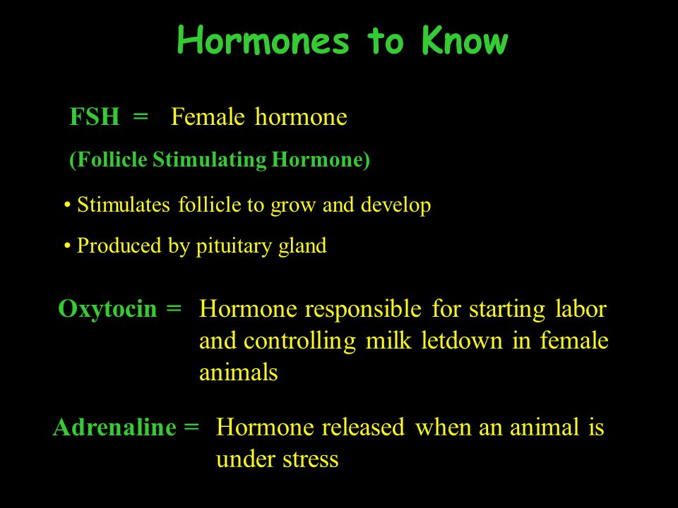 Hormones to Know FSH = Female hormone Oxytocin =