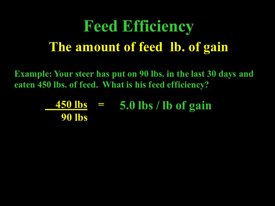 The amount of feed lb. of gain