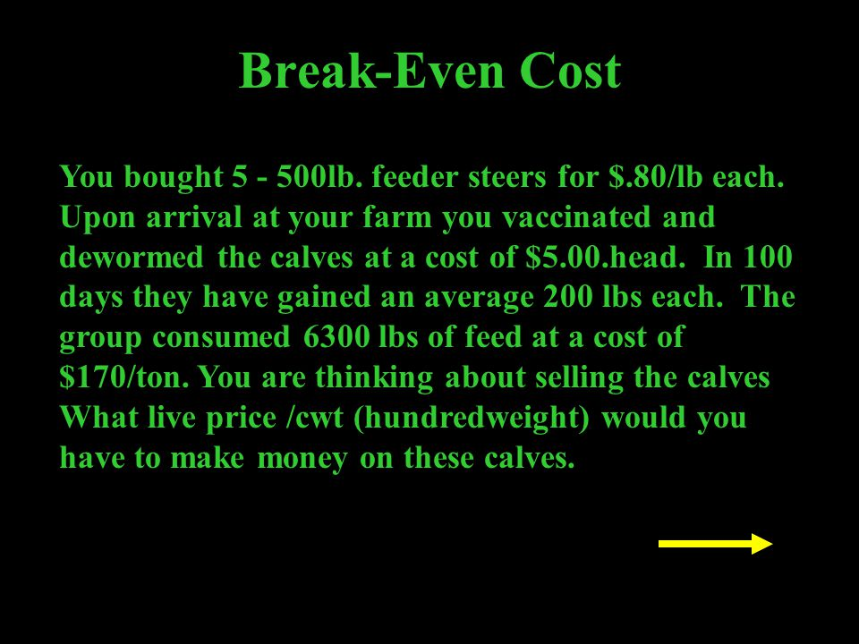 Break-Even Cost