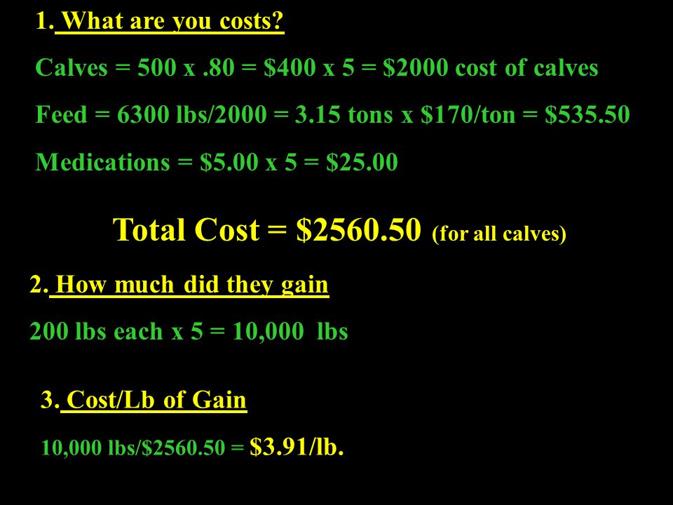Total Cost = $2560.50 (for all calves)