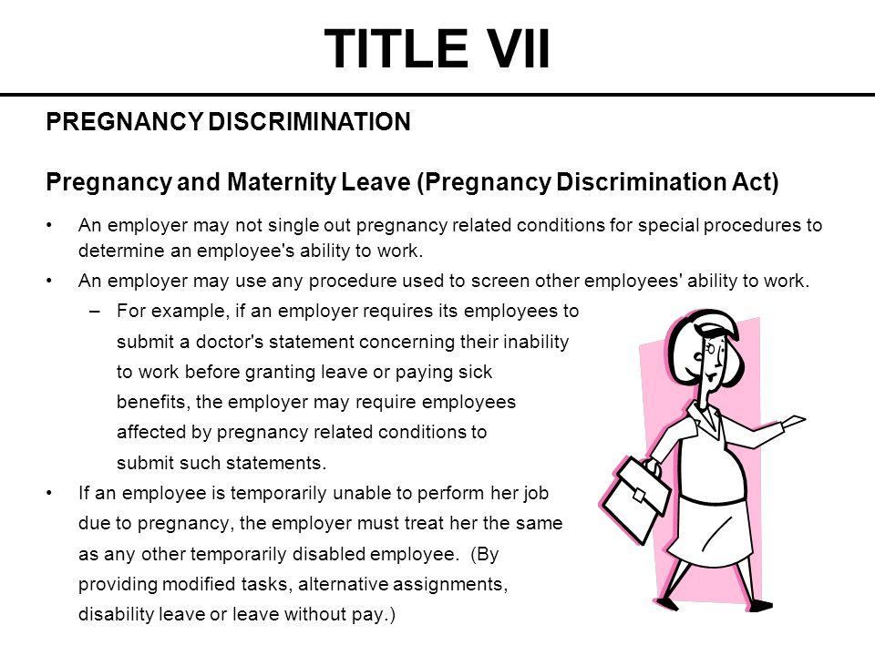 TITLE VII PREGNANCY DISCRIMINATION
