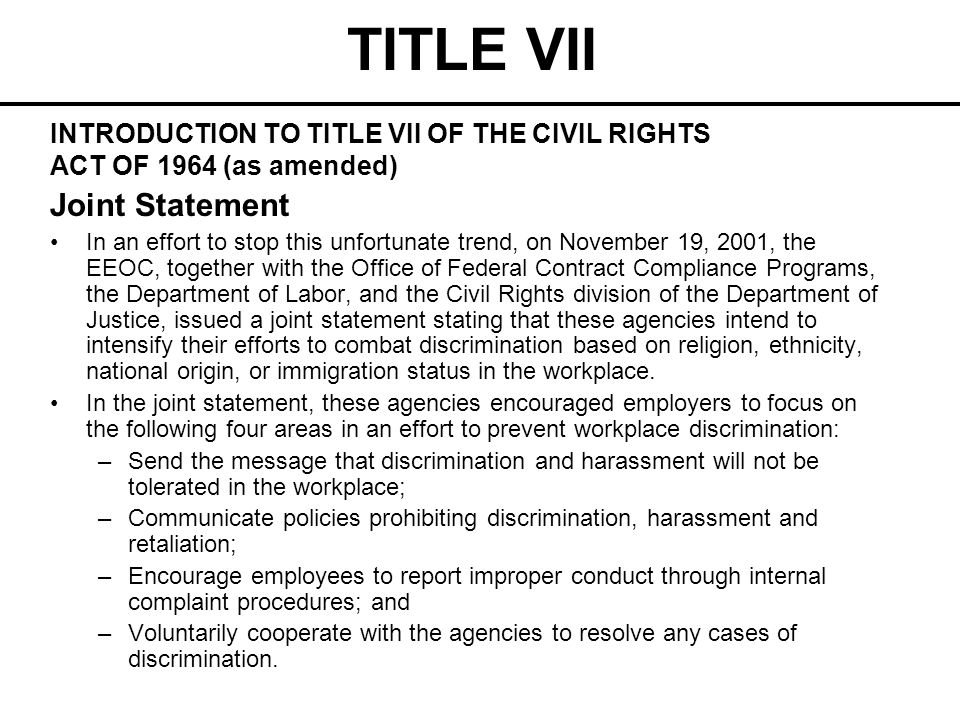 TITLE VII Joint Statement