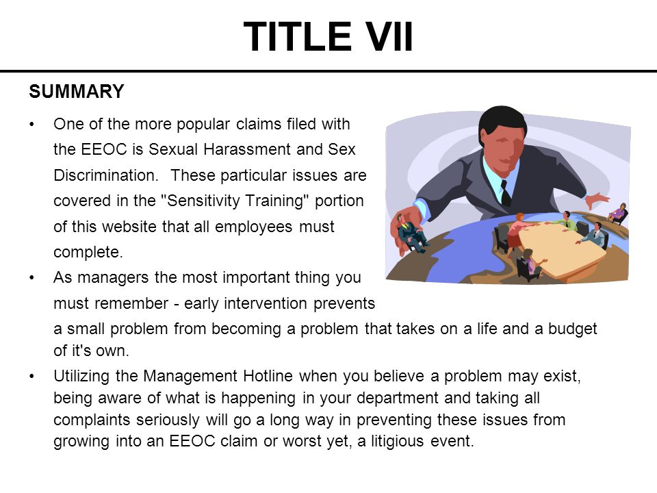 TITLE VII SUMMARY One of the more popular claims filed with