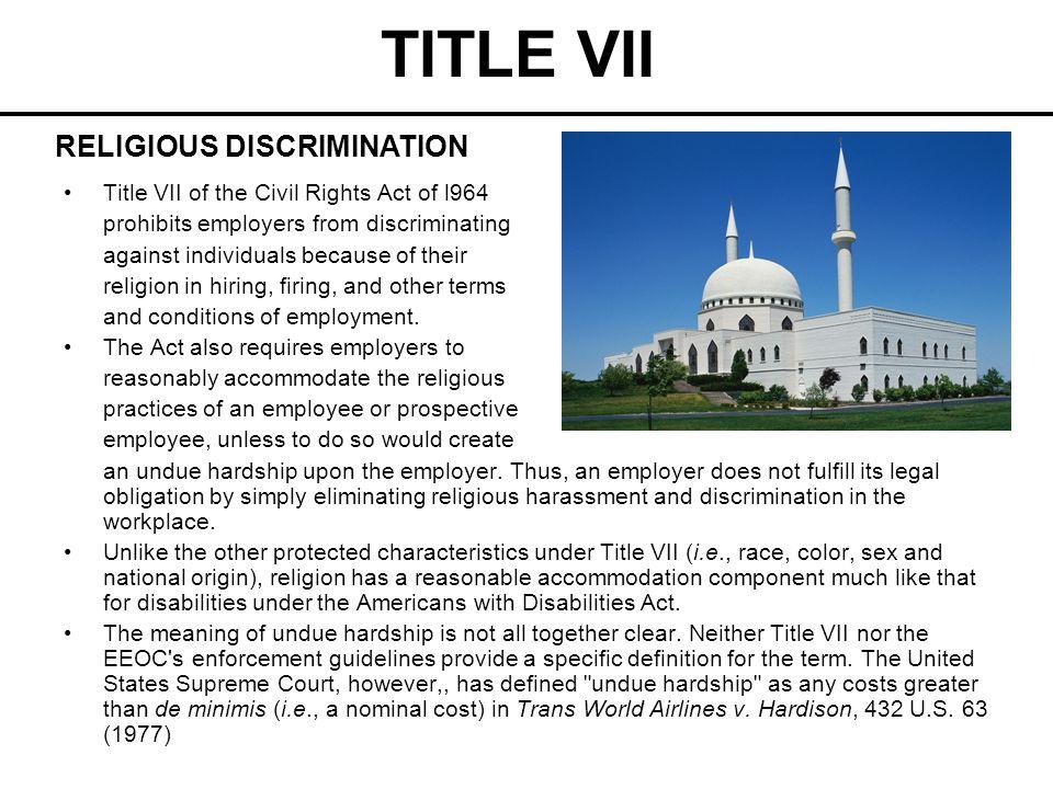 TITLE VII RELIGIOUS DISCRIMINATION