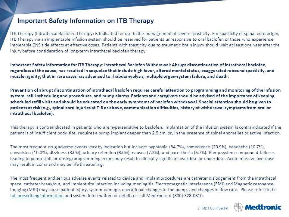 Important Safety Information on ITB Therapy