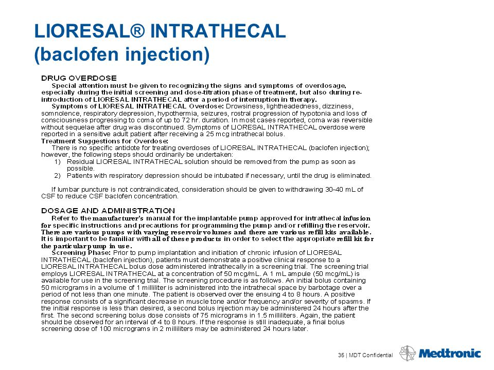 Lioresal Intrathecal