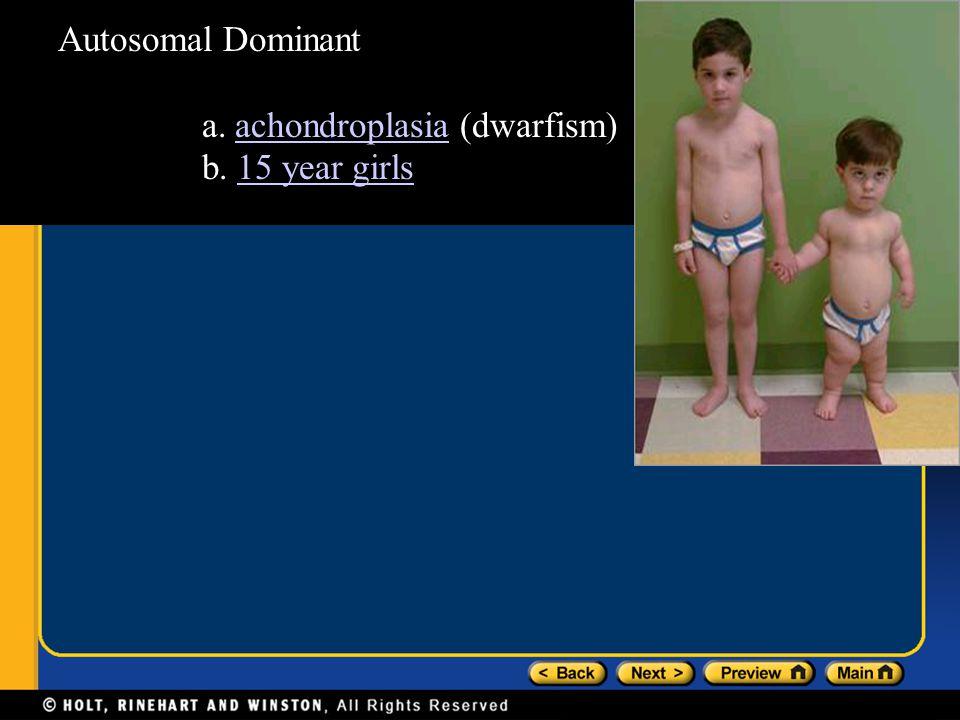 Autosomal Dominant a. achondroplasia (dwarfism) b. 15 year girls