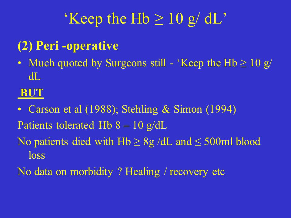 'Keep the Hb ≥ 10 g/ dL' (2) Peri -operative