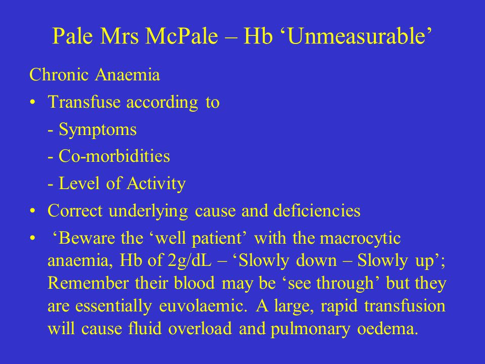 Pale Mrs McPale – Hb 'Unmeasurable'