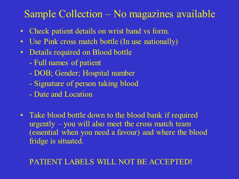 Sample Collection – No magazines available