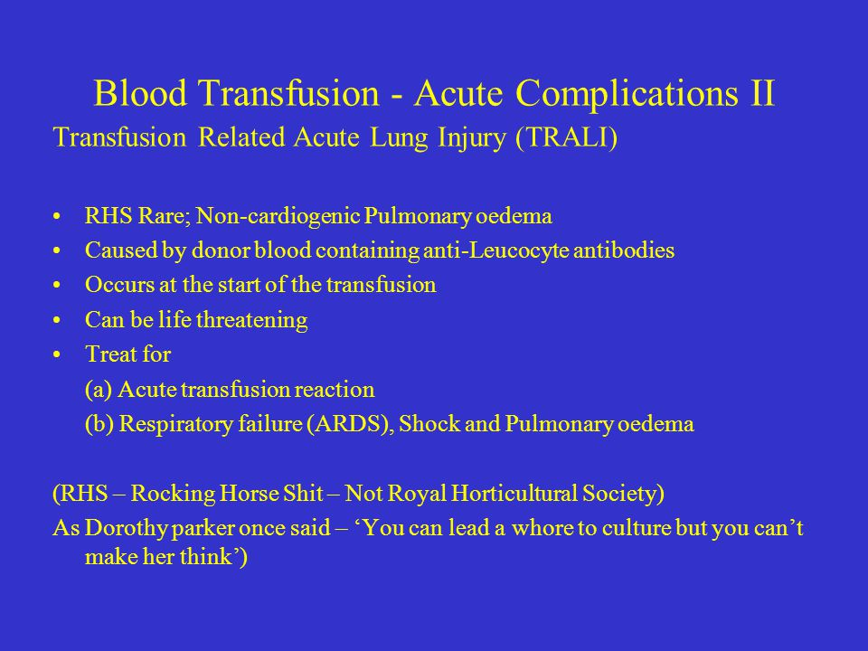 Blood Transfusion - Acute Complications II