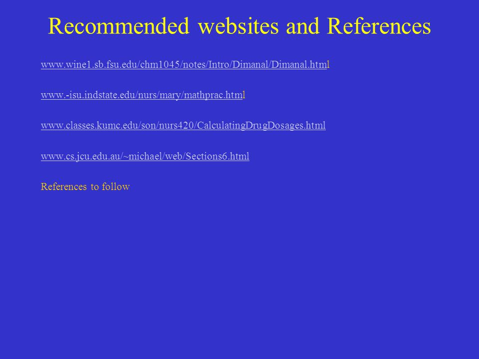 Recommended websites and References