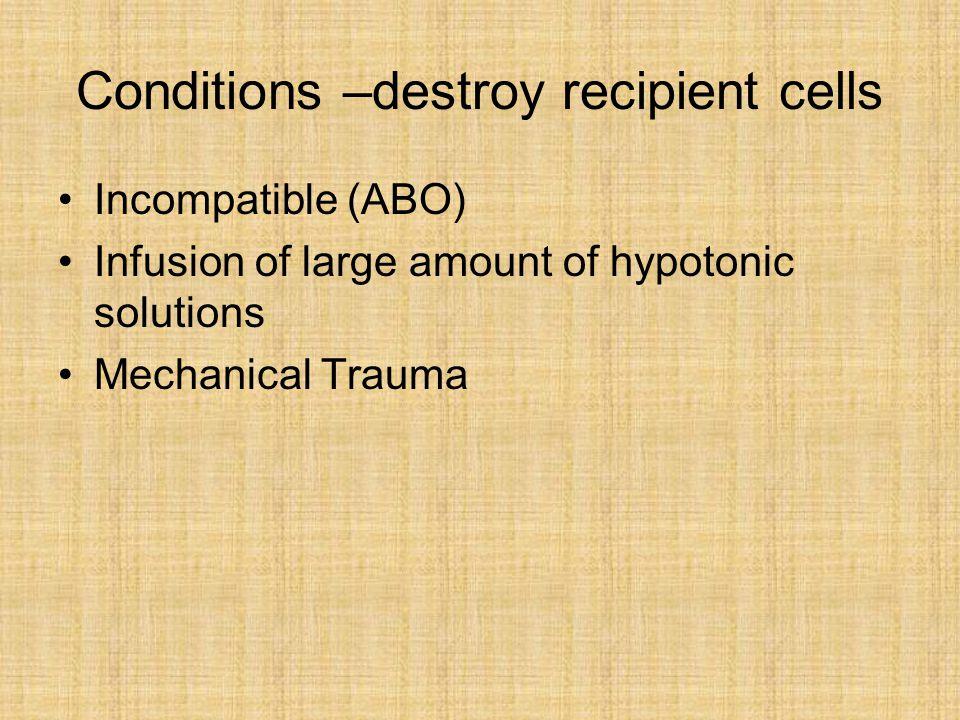 Conditions –destroy recipient cells