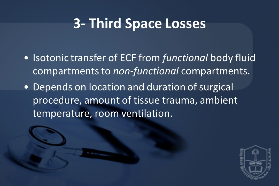 3- Third Space Losses Isotonic transfer of ECF from functional body fluid compartments to non-functional compartments.