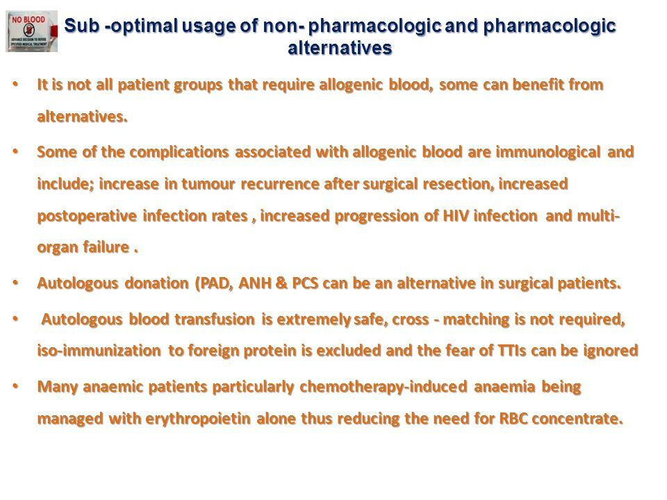 Sub -optimal usage of non- pharmacologic and pharmacologic alternatives