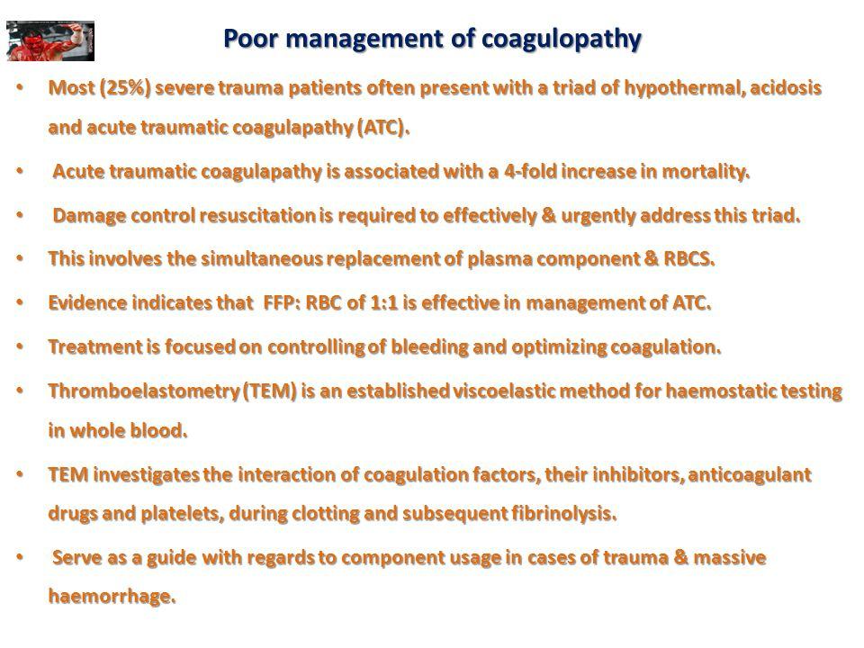 Poor management of coagulopathy