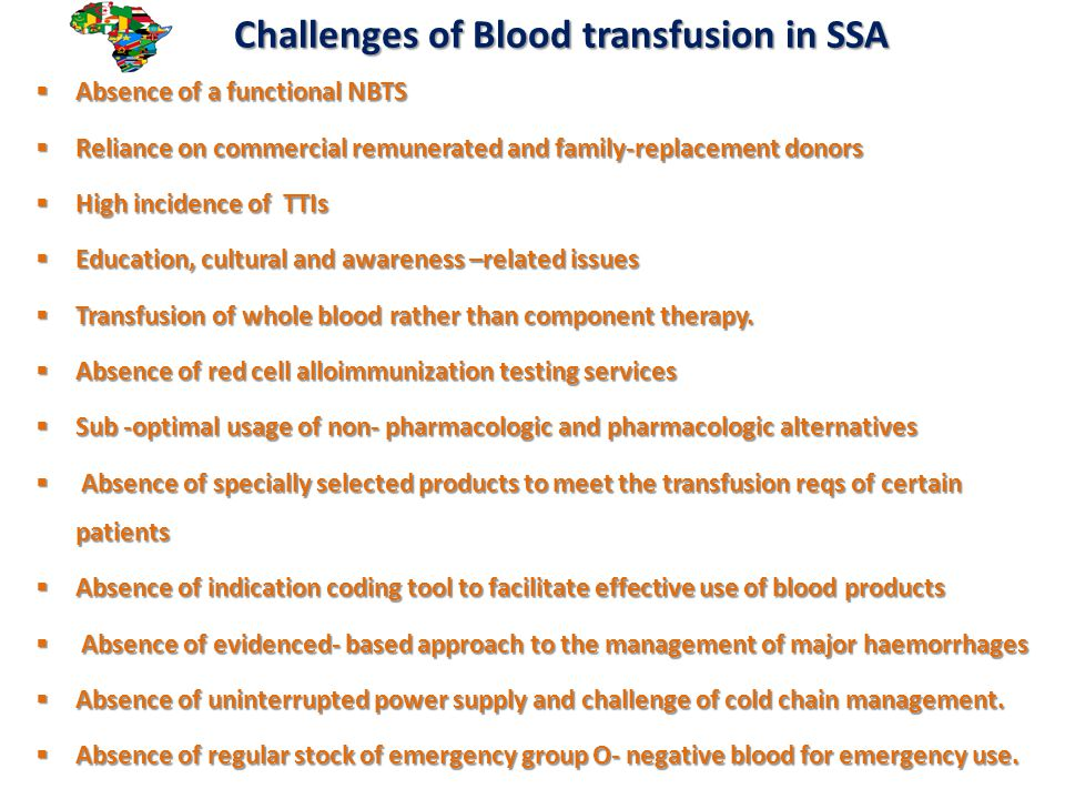 Challenges of Blood transfusion in SSA