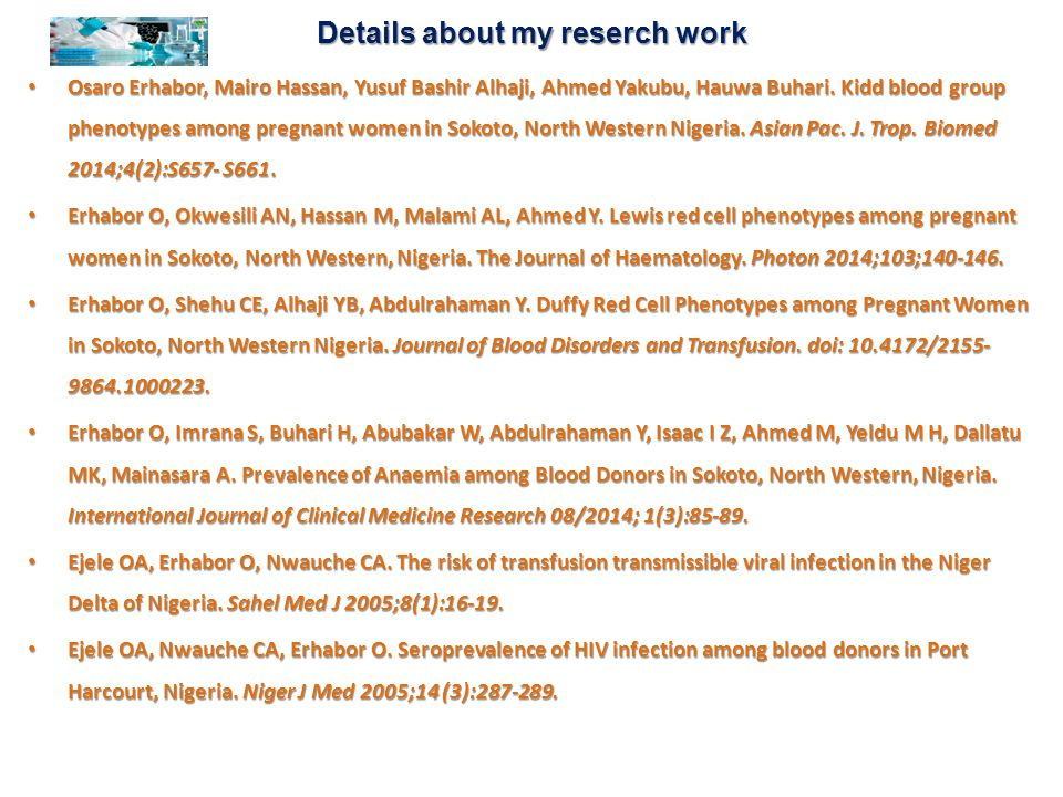 Details about my reserch work