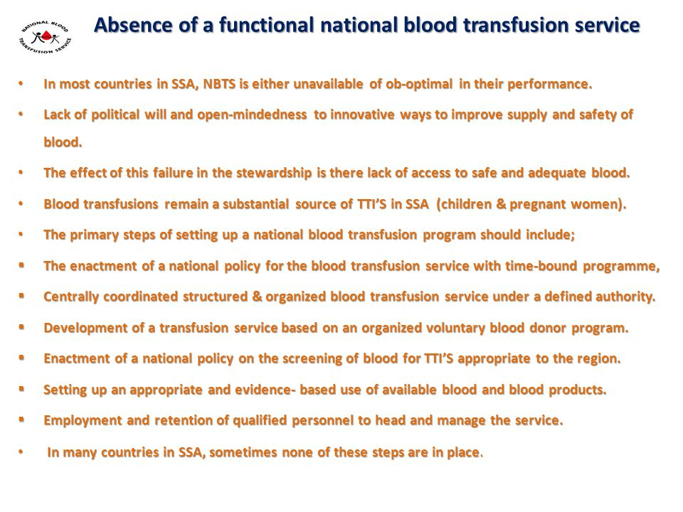 Absence of a functional national blood transfusion service