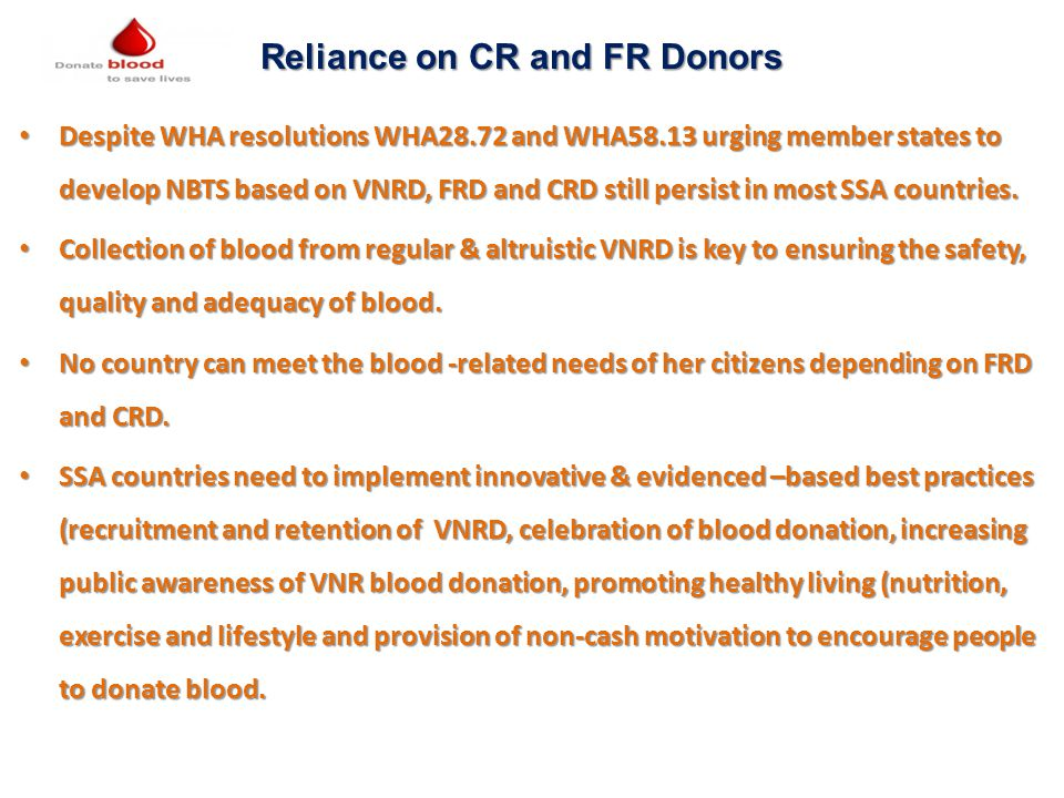 Reliance on CR and FR Donors