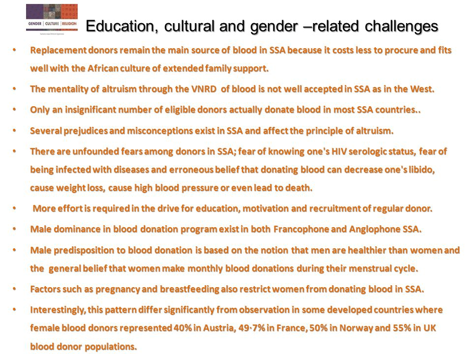 Education, cultural and gender –related challenges
