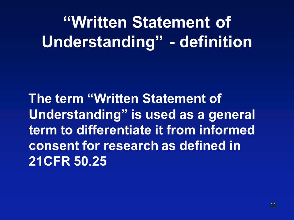 Written Statement of Understanding - definition