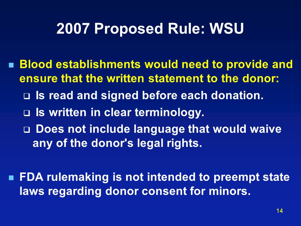 2007 Proposed Rule: WSU Blood establishments would need to provide and ensure that the written statement to the donor: