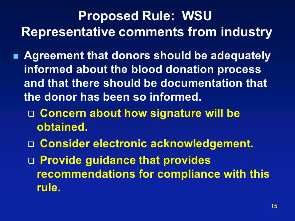 Proposed Rule: WSU Representative comments from industry