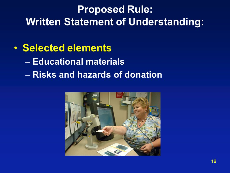 Proposed Rule: Written Statement of Understanding: