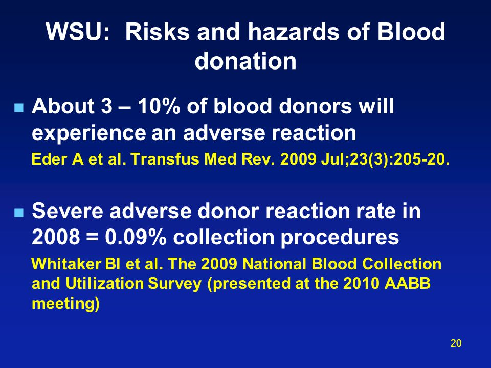 WSU: Risks and hazards of Blood donation