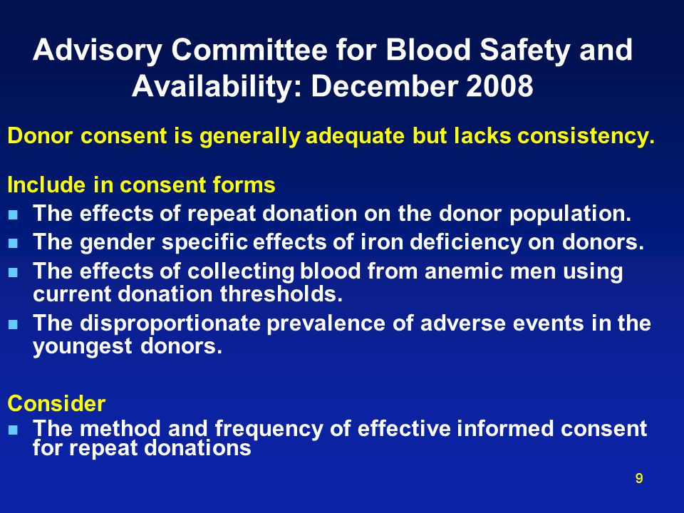 Advisory Committee for Blood Safety and Availability: December 2008