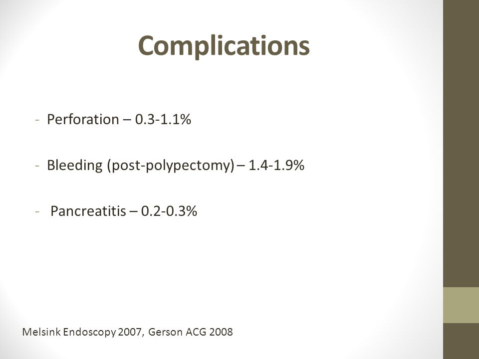Complications Perforation – 0.3-1.1%