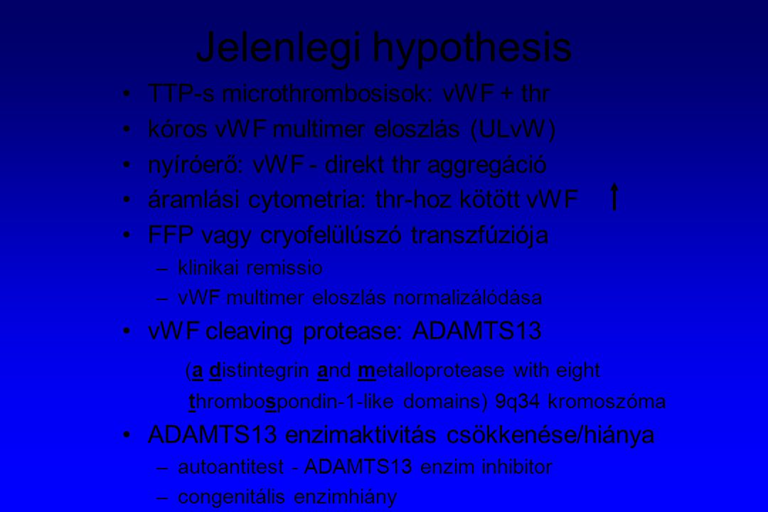 Jelenlegi hypothesis (a distintegrin and metalloprotease with eight