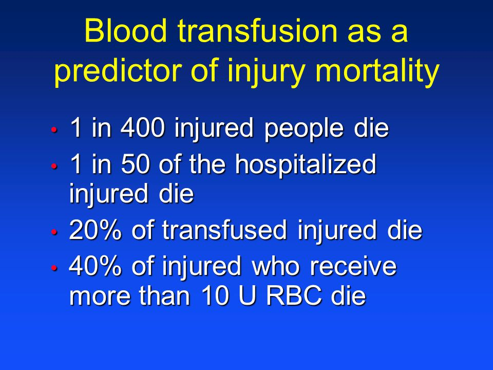 Blood transfusion as a predictor of injury mortality