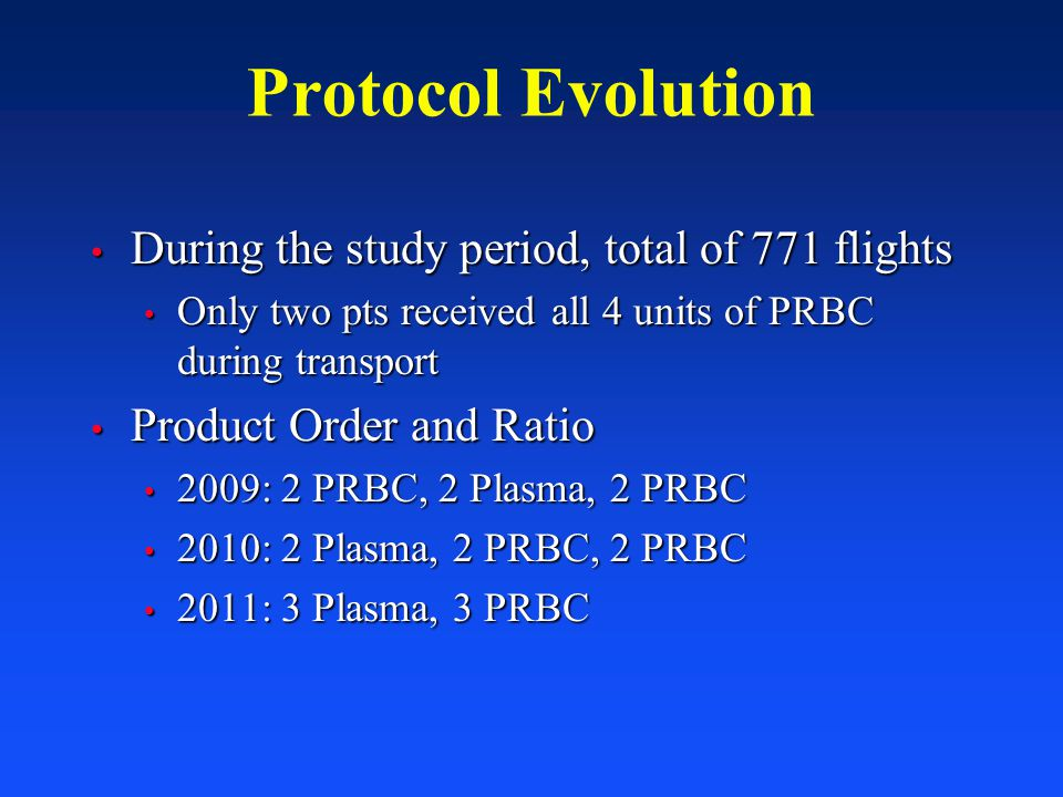 Protocol Evolution During the study period, total of 771 flights