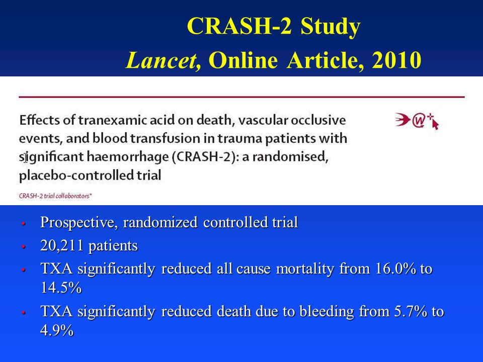 CRASH-2 Study Lancet, Online Article, 2010