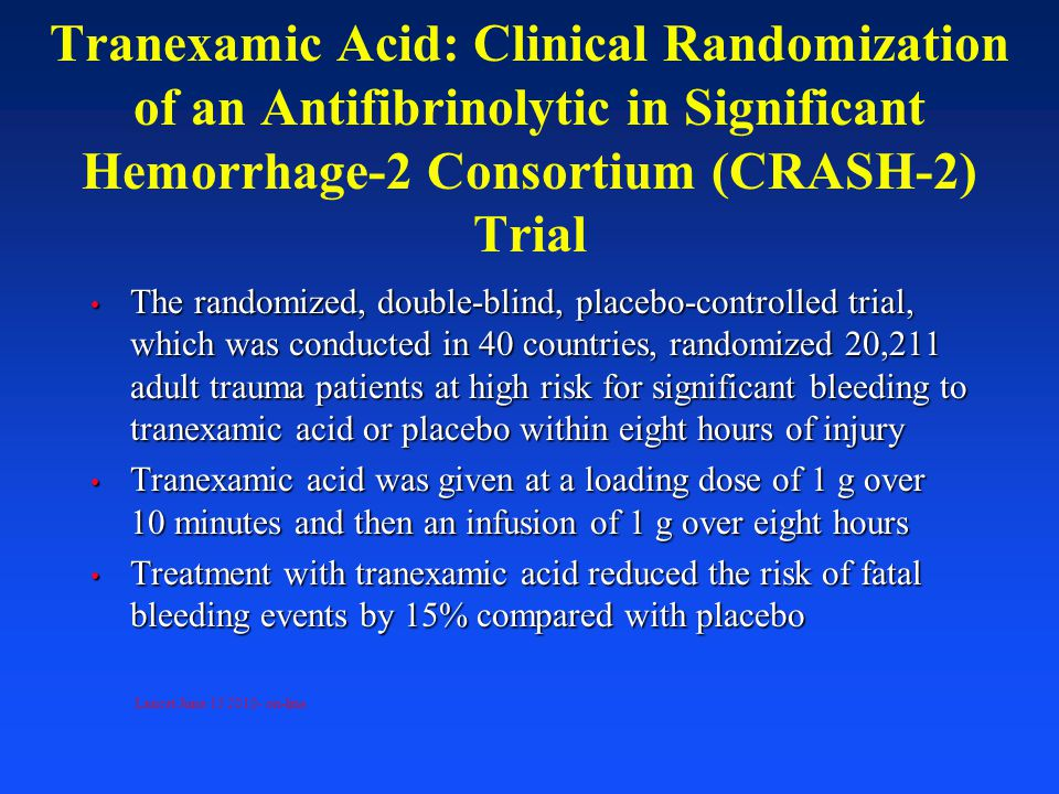 Tranexamic Acid: Clinical Randomization of an Antifibrinolytic in Significant Hemorrhage-2 Consortium (CRASH-2) Trial