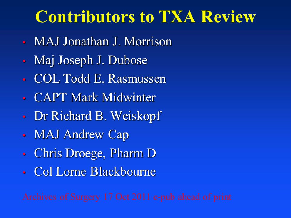 Contributors to TXA Review