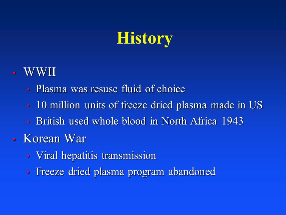 History WWII Korean War Plasma was resusc fluid of choice