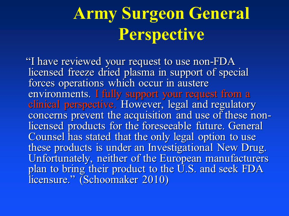 Army Surgeon General Perspective