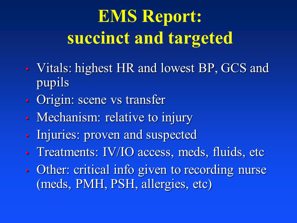 EMS Report: succinct and targeted