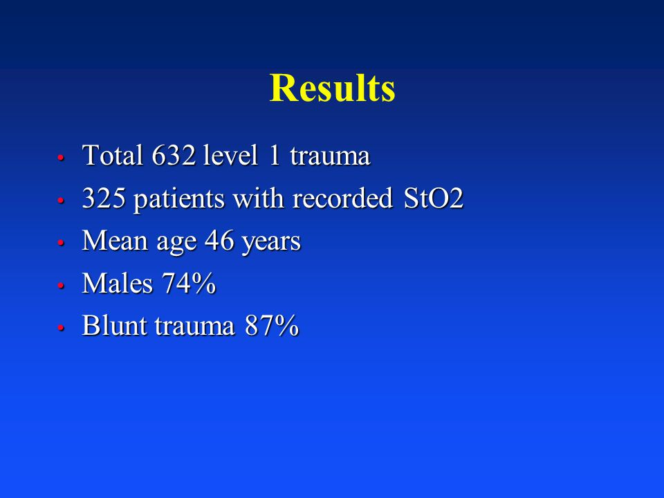 Results Total 632 level 1 trauma 325 patients with recorded StO2