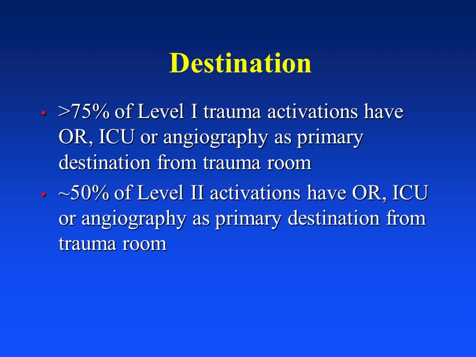 Destination >75% of Level I trauma activations have OR, ICU or angiography as primary destination from trauma room.