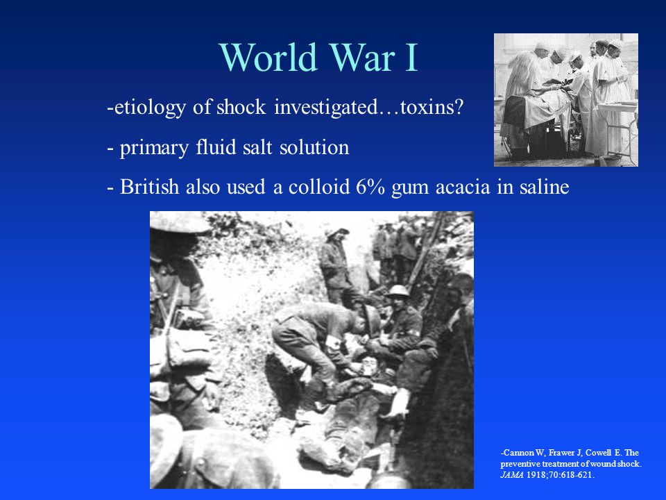 World War I etiology of shock investigated…toxins