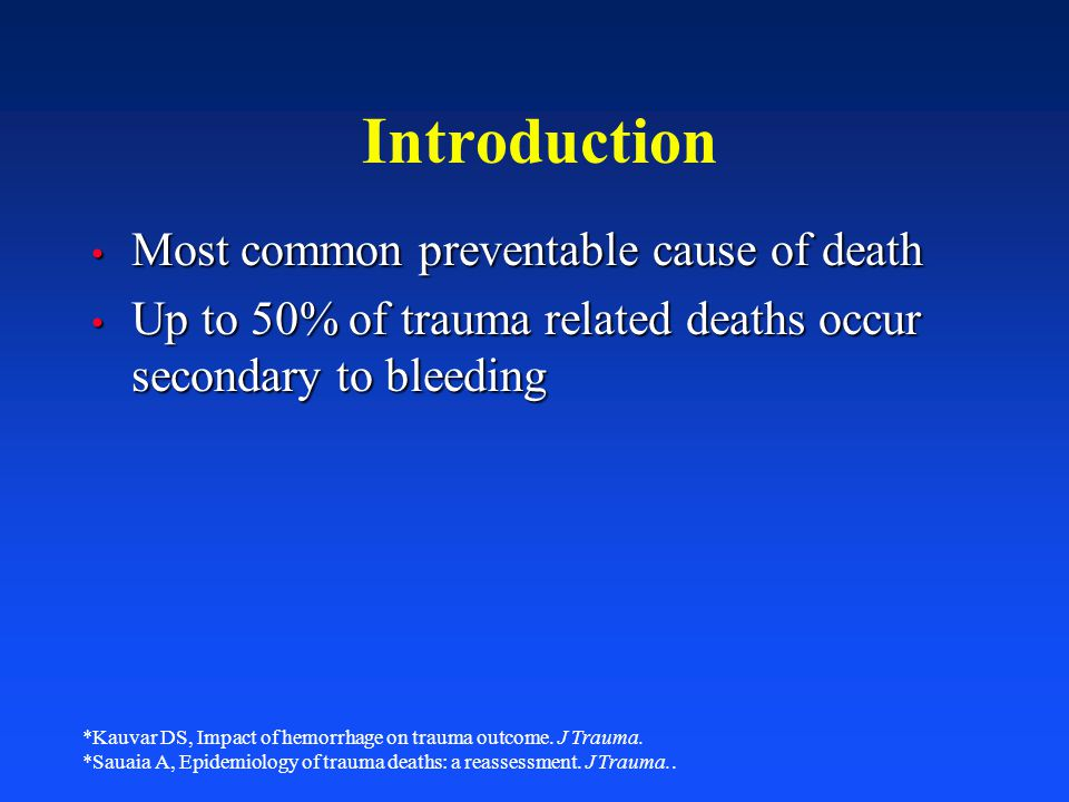 Introduction Most common preventable cause of death