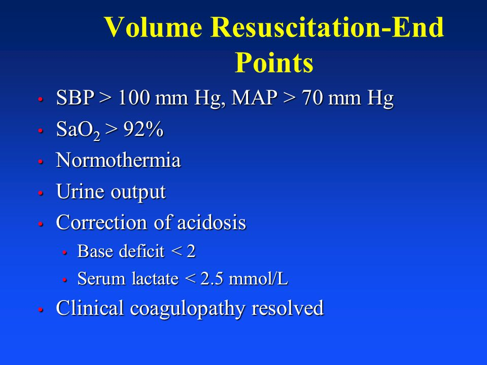 Volume Resuscitation-End Points