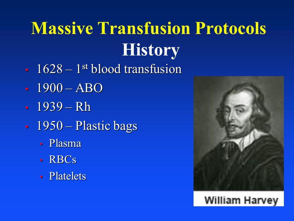 Massive Transfusion Protocols History