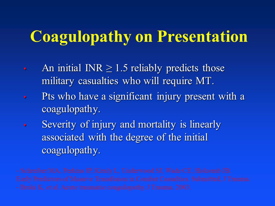 Coagulopathy on Presentation